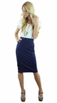 Ribbed Midi Pencil Modest Skirt in Navy Blue