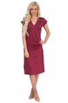 Roxy Crossover Neck Modest Dress in Burgundy- doubles as Nursing Dress