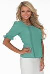 Ruffle Sleeve Chiffon Modest Top in Beryl Green