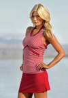 Ruffle V Halter in Red Gingham