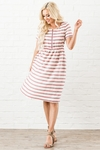 Ryan Modest Dress in Raspberry Stripe, Modest Nursing Dress