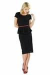 """Sabrina"" Lacy Peplum Modest Dress in Black"