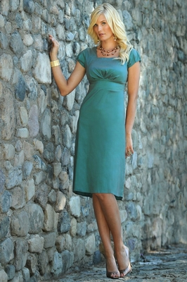 Sabrina Modest Dress in Antique Turquoise