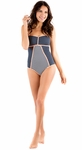 """""""Sailing Sunset"""" One-Piece Modest Swimsuit in Navy Dot"""