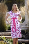 """Samantha"" Modest Dress in Hot Pink and White"