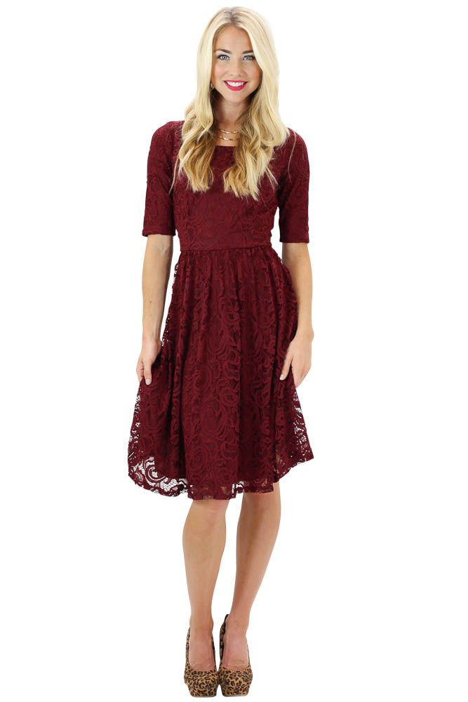 Modest Dresses Samantha Lace Dress In Burgundy