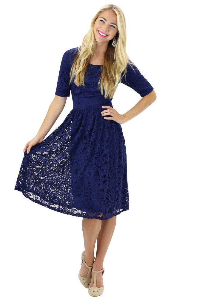 f1a3cae14c67 Modest Dresses: Samantha Lace Dress in Navy Blue