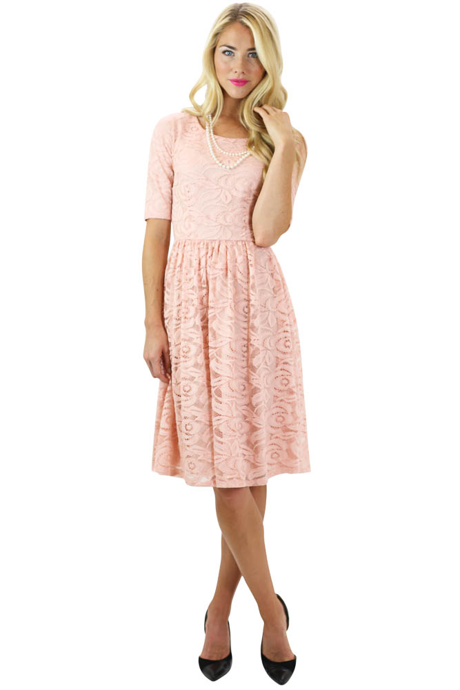 Samantha Modest Lace Dress In Pink