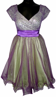 Sequin & Tulle Modest Prom Dress in Orchid/Apple