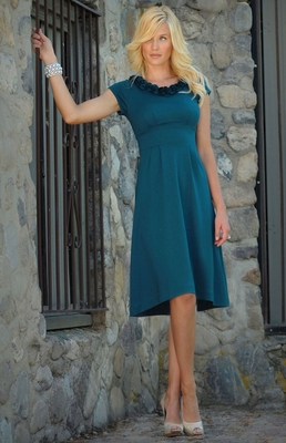 Serena Modest Dress in Deep Ocean Blue