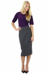 Wool Modest Pencil Skirt with Side Buttons in Charcoal Grey