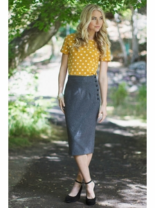 """""""Side Buttons Skirt"""" in Charcoal Grey"""