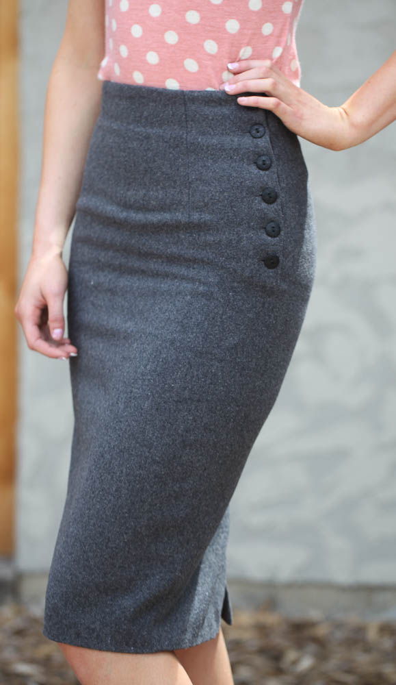 150eb8706a Side Buttons Pencil Skirt in Charcoal Grey