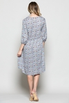 Sky Ruffle Front Modest Dress in Blue Floral Print