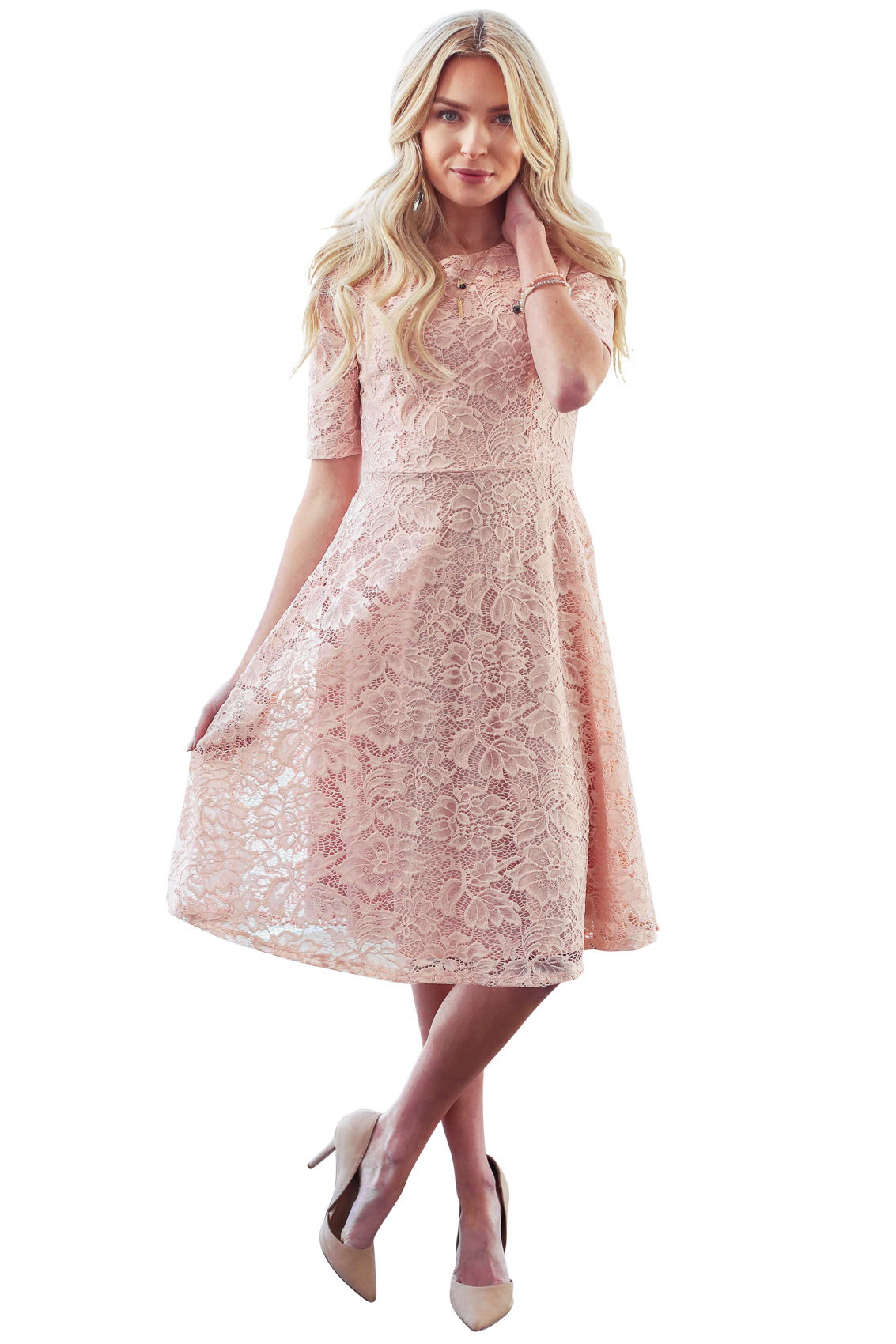 sloan modest bridesmaid lace dress in blush pink