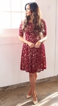 """Sloan"" Modest Dress in Burgundy Lace w/Nude Lining"