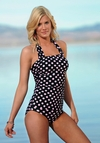 Square Halter Tankini Top in Black Pink Dots