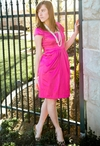 Stretch Satin Modest Dress in Fuschia