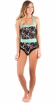 """Summertime"" One-Piece Modest Swimsuit in Black Floral Print"