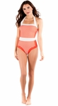 """Summertime"" One-Piece Modest Swimsuit in Coral Stripe"