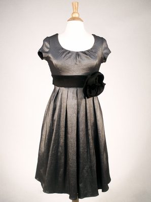 Taffeta Modest Formal Dress in Gunmetal