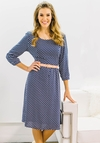 """Teryn"" Modest Dress in Navy Blue w/White Leaf Print"