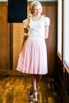 Tulle Modest Skirt in Pink w/Dots