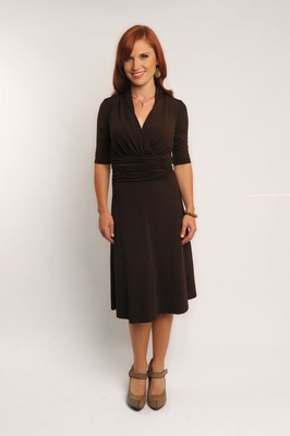 """Valerie"" Modest Dress in Chocolate Brown"