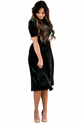 """Vixen"" Modest Dress in Emerald Green Velvet"