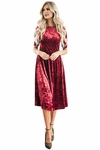 """Vixen"" Modest Dress in Red Velvet"