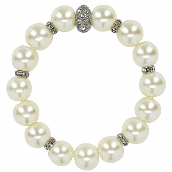 White Pearl & Rhinestone Bracelet *Final Sale*