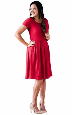 """Winslow"" Modest Dress in Cherry Red Mesh"
