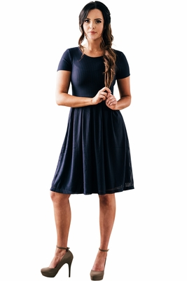 """Winslow"" Modest Holiday Dress in Navy Blue Mesh"