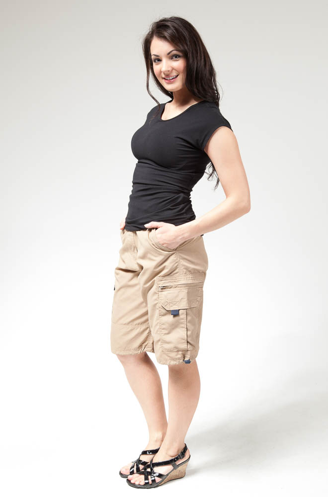 Womenu0026#39;s Modest Nylon Cargo Shorts in Khaki