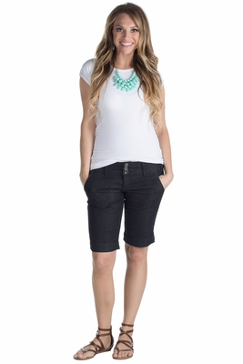 Modest Knee-Length Stretch-Denim 3-Button Bermuda Jean Shorts, Dark Wash