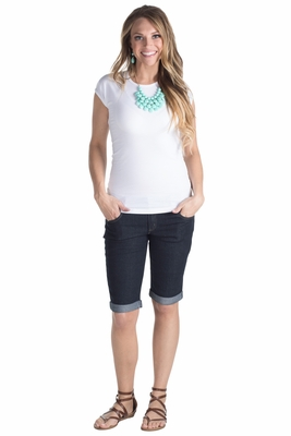 Women's Modest Stretch-Denim Bermuda Shorts in Raw Denim (Black)