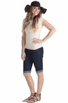 Modest Knee-Length Stretch-Denim Bermuda Jean Shorts in Dark Blue