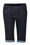 Modest Knee-Length Stretch-Denim Bermuda Jean Shorts in Raw Denim (Black)