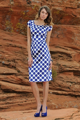"""Zoe"" Modest Dress in Royal Blue Dots"