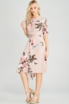 Zoe Twist Front Modest Dress w/Asymmetrical Hem in Blush Floral Print