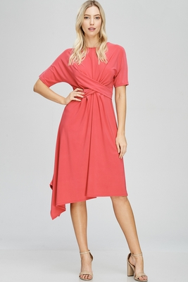 Zoe Twist Front Modest Dress w/Asymmetrical Hem in Coral