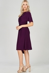 Zoe Twist Front Modest Dress w/Asymmetrical Hem in Deep Plum Purple