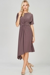 Zoe Twist Front Modest Dress w/Asymmetrical Hem in Mocha