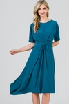 Zoe Twist Front Modest Dress w/Asymmetrical Hem in Peacock Blue