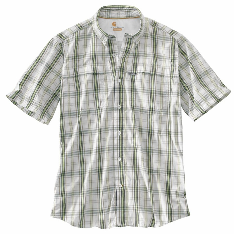 Carhartt force mandan plaid button down short sleeve shirt Short sleeve plaid shirts