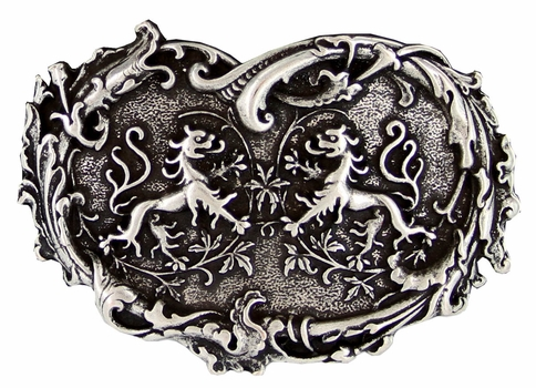 HA1699 Twin Dragons Heart Belt Buckle