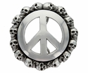 HA1602-1 Peace Sign Skull Belt Buckle Made In Italy Belt Buckle