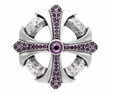 100328 Amethyst Rhinestone Cross Celtic Belt Buckle Made In Italy