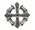 100328 Black Diamond Rhinestone Cross Celtic Belt Buckle Made In Italy