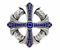 100328 Capri Blue Rhinestone Cross Celtic Belt Buckle Made In Italy